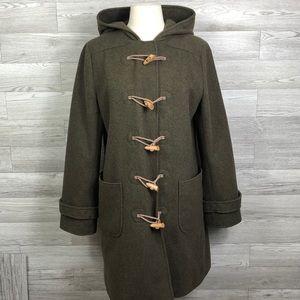J. Crew Wool Hooded Coat M Preppy Toggle